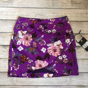 4Si3NNA Purple Floral Mini Skirt